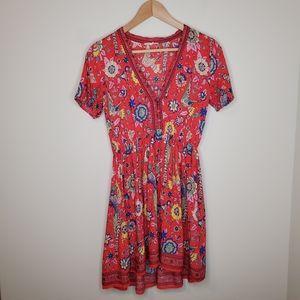 Little Red Floral Bird Print Cinch Waist Dress